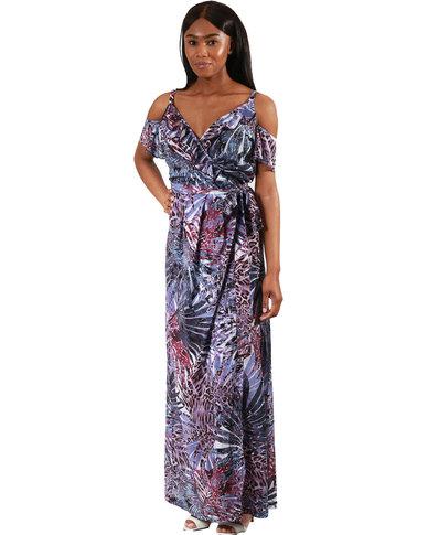 Jatine Lily Maxi Wrap Dress Purple Print