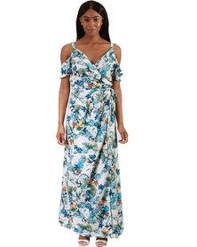 Jatine Lily Maxi Wrap Dress White Blue Print