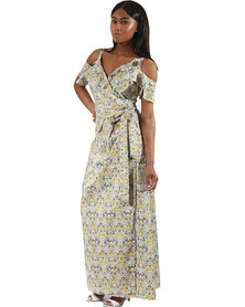 Jatine Lily Maxi Wrap Dress Yellow