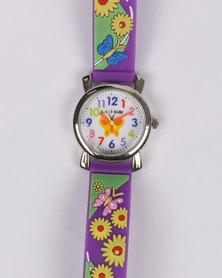 Cool Kids 3D Flower Watch Purple