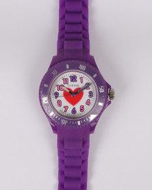 Cool Kids Girl Watch & Heart Pendant Gift Set Purple