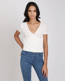 New Look Ribbed V Neck Wrap Front T-Shirt Cream