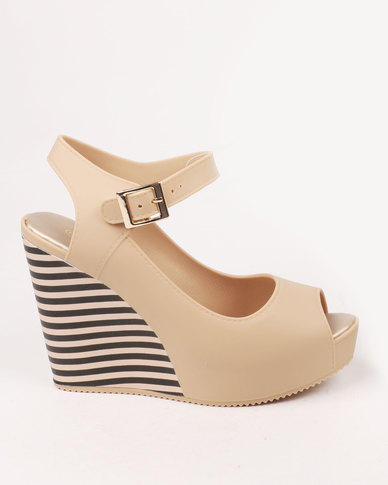 a1d8cdfbd Urban Zone Peep Toe Wedge Nude