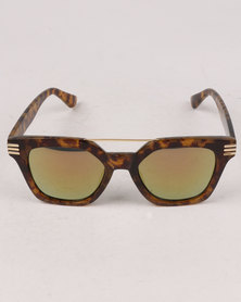 You & I Mirror Double Bar Wayfarer Sunglasses Gold-tone