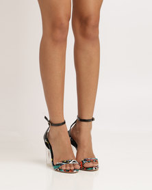 PLUM Dineo Block Heel Printed Shoe With Ankle Strap Black Multi