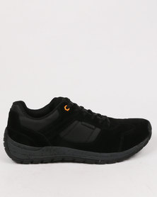 Bronx Gotham Suede Casual Lace Up Sneaker Black