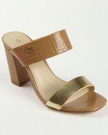 Bronx Collet Block Heel Sandal Tan