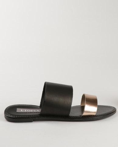 Utopia Leather Mule Sandal Black