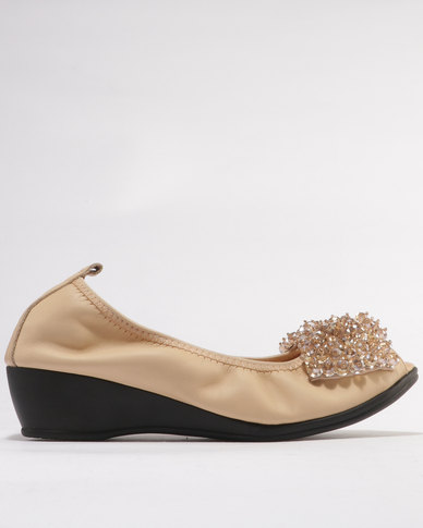 Julz Jadene Jewel Detail Peeptoe Wedges Cream