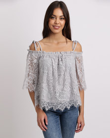 New Look Lace Cold Shoulder Top Grey