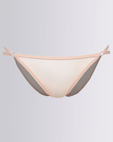 New Look Strap Side Mesh Briefs Peach