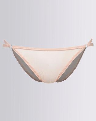 New Look Strap Side Mesh Briefs Peach