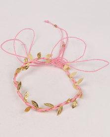 Jewels & Lace 2 Pack Plaited Leaf & Bow Headband Set Pink