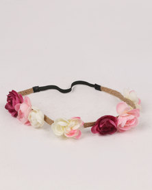 Jewels & Lace Rose Headband Multi