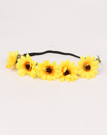 Jewels & Lace Floral Headband Yellow