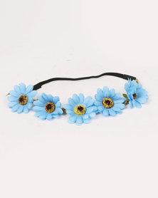 Jewels & Lace Floral Headband Blue