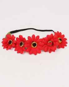 Jewels & Lace Floral Headband Red