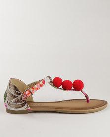 Miss Black Flamingo Printed Flat Sandal Red
