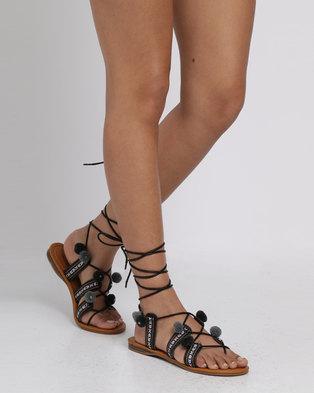 Miss Black Angler Printed Flat Sandals Black