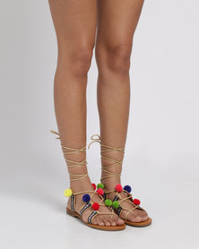 Miss Black Angler Printed Flat Sandal Nude