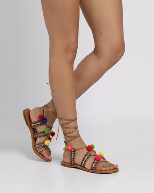 Miss Black Angler Printed Flat Sandals Tan