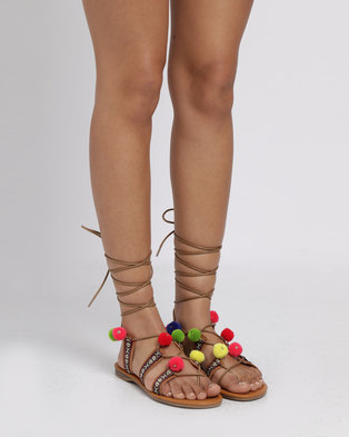 2e16cd544 Miss Black Angler Printed Flat Sandals Tan