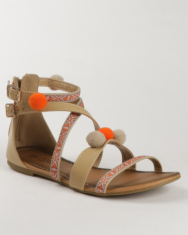 Miss Black Kitten Printed Flat Sandal Nude