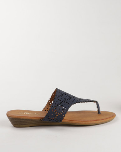 Candy Flat Toe Thong Sandal Navy