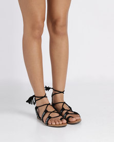 outlet get to buy AWOL AWOL Lace Up Flat Sandal Black shipping discount sale buy cheap nicekicks shipping outlet store online popular online g4znmiuw
