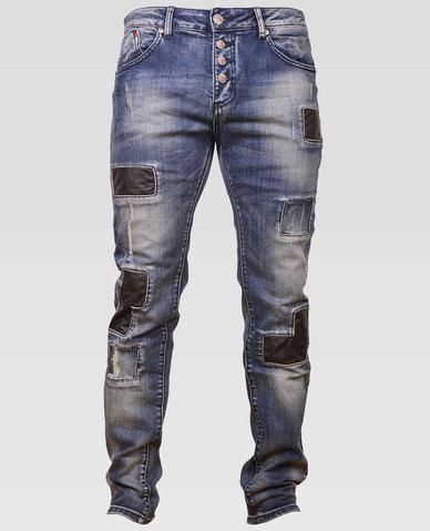 Bogart Man Leather Patch Jeans Blue