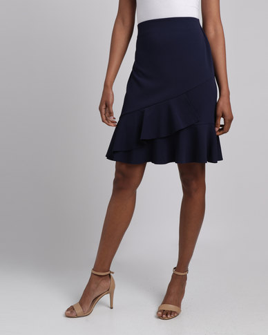 Cath Nic By Queenspark Frill Detail Woven Skirt Navy