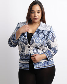 Queenspark Plus Border Printed Woven Jacket Navy