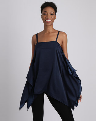 Slick Riley Styled Satin Top Navy