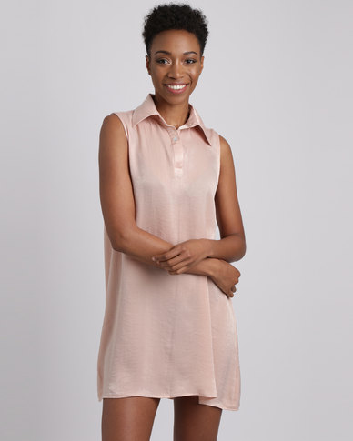 Utopia Textured Satin Swing Dress Nude