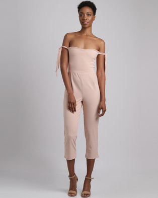 2af1dc8336 Utopia Crepe Bardot Jumpsuit Dusty Pink