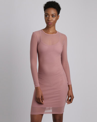 Utopia Long Sleeve Mesh Dress Nude