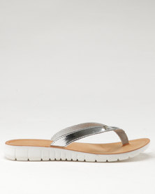 Angelsoft Ladies Leather Slip On Sandals Silver