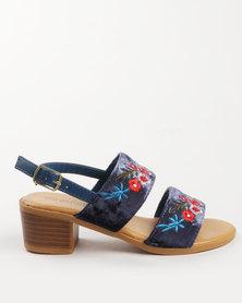 Pretty Feet Girls Embroidered Heels Navy
