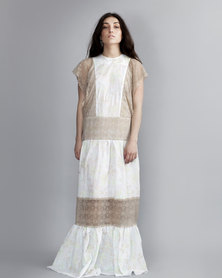 HASHTAG SELFIE Lace Embroidery Maxi Dress White Floral