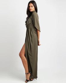 Utopia Grecian Maxi Dress Olive