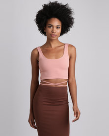 Brett Robson Kwezi Crop Top With Binding Ties At The Side Pink