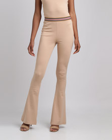 Brett Robson Nude Skinny Flare Pants With Stripe Elastic Waistband