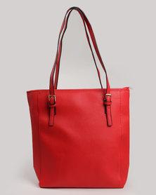 Blackcherry Bag Simple Tote With Metal Drop Detail Red