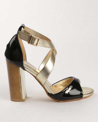 plum scalt block heel black/gold  zando