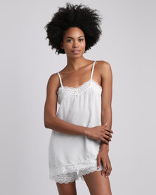 Poppy Divine Rayon Strappy Top With Lace Trim Silver