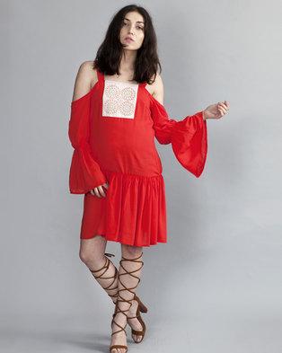 b403495834c HASHTAG SELFIE Flare Boho Dress Red
