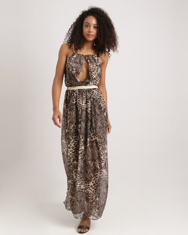7158a833ff Utopia Animal Print Grecian Dress With Gold Trim Multi