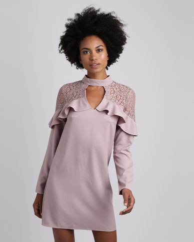 London Hub Fashion Lace And Ruffle Choker Neck Dress Mauve