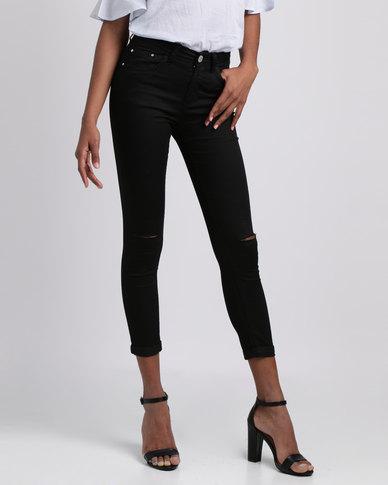 London Hub Fashion Slash Knee Jeans Black