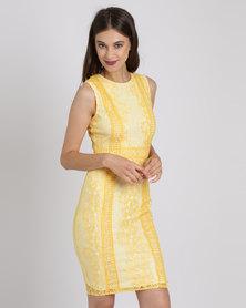 AX Paris Lace Bodycon Dress Yellow